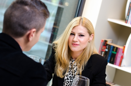 Business woman talking to a business man  during lunch Stock Photo - 16655954