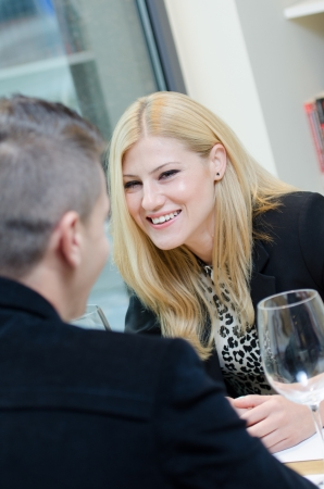 Business woman talking to a business man  during lunch Stock Photo - 16654548