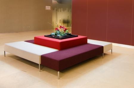Arrangement of sofas in the lobby restaurant