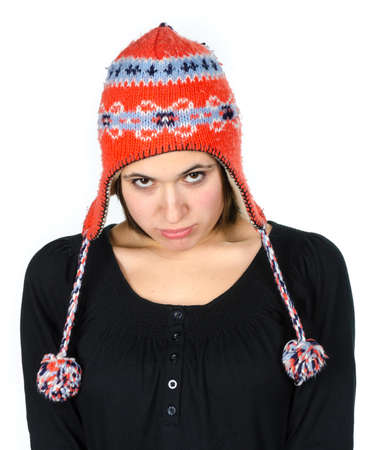 Portrait of beautiful young woman with a funny knitted hat Stock Photo - 17866265