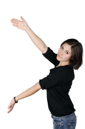 Portrait of young woman showing your product against white background