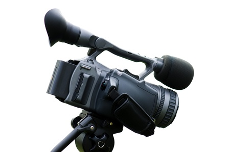 Professional camera for video against white background Stock Photo