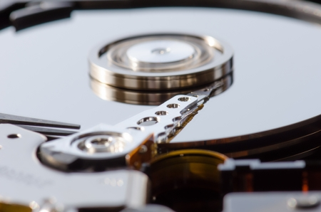 Hard disk working, details photo