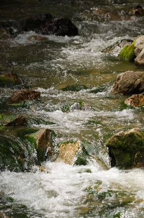 range of motion: Mountain river flowing through the rocks