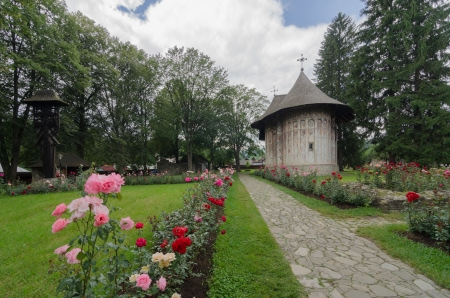 The church of Gura Humorului Monastery Stock Photo