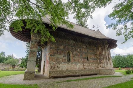 iconography: The church of Gura Humorului Monastery Stock Photo