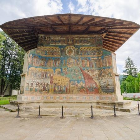 iconography: The church of Voronet Monastery Stock Photo
