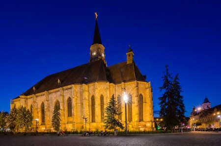 St. Michael Catholic Church from Cluj Napoca at night photo