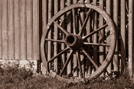 Wooden wheel of a wagon photo