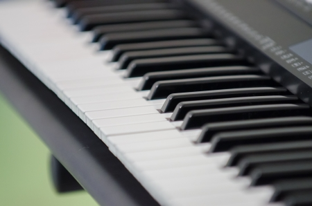Electric piano synthesizer close-up photo