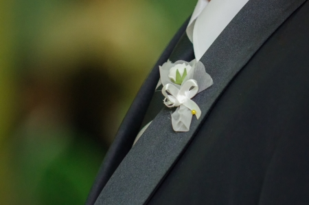 White  rose with white bow for groom chest
