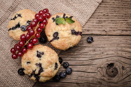 blueberry muffin: Muffins with blueberries and red currant on textile and wooden surface