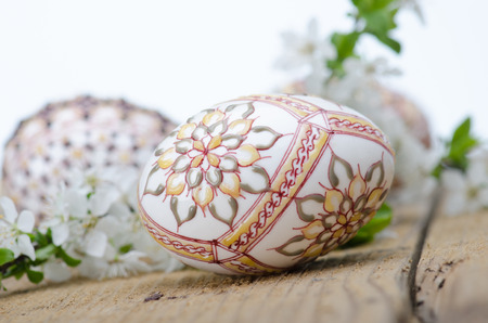 Wax painted eggs  and plum cherry flowers  on wooden surface ; floral motifs Stock Photo