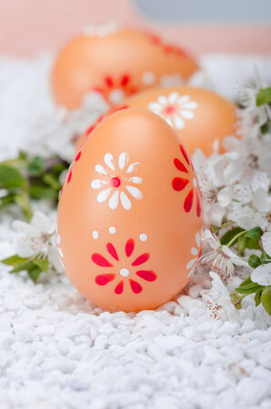 Painted eggs on white  surface with plum cherry flowers Stock Photo - 27145205