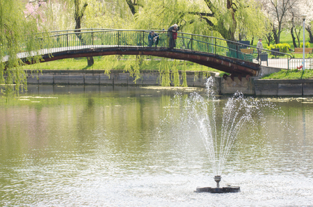 Gusher fountain and a small bridge across water in a park   photo