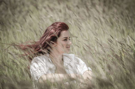 redhaired: Young beautiful woman with long  red hair   sitting in wheat field under the summer sun Stock Photo