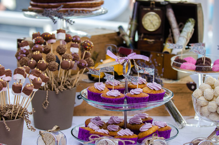 Wedding sweets bar with chocolate photo