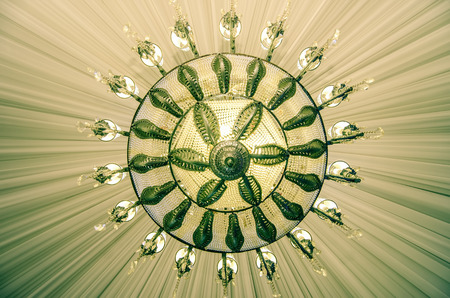Event ballroom chandelier close-up photo