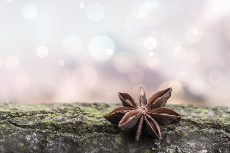 Star anise over a wooden surface against a light bokeh Stock Photo