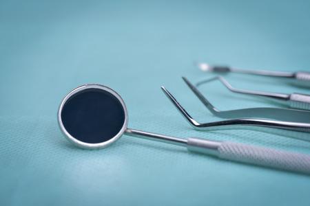 Dental instruments on sterile surface