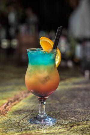 sliced orange: Cocktail in a glass with sliced orange Stock Photo