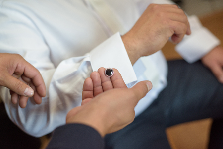 wrist cuffs: Silver cufflinks for the groom shirt