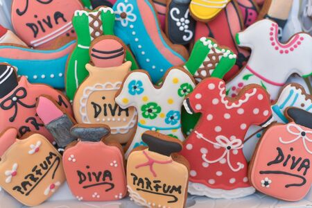 Colourful different shaped gingerbread for candy bar Stock Photo
