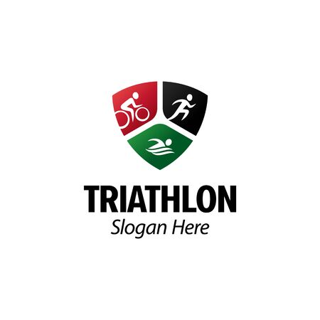 Triathlon iconic. Running cycling swimming. Branding for triathlon sports, clubs, championship, contest, accessories, equipment,etc. Shield emblem. Isolated inspiration. Graphic designs