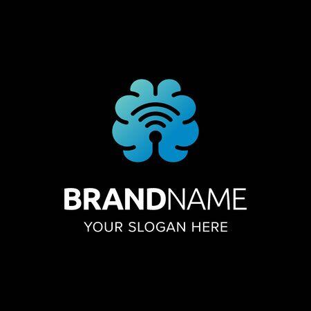 Brain neuro technology logo iconic. Brain network wifi signal. Branding for website, software, health, neuro, laboratory, mobile app, intelligence, etc. Isolated graphic designs inspiration