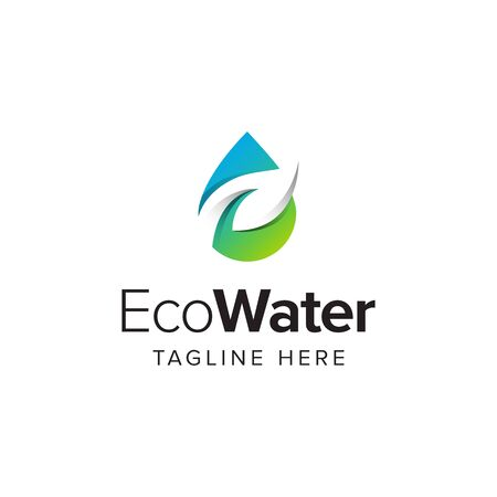 Eco water logo iconic. Branding for bio organic company, water purity, environment, herbal, health, spa, botanical, ecology, etc. Isolated logo vector inspiration. Graphic designs