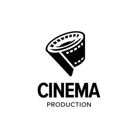 Film strip roll logo iconic. Branding for website, movie maker, movie production, videographer, video editor, production house, cinema, cinematography, etc. Isolated graphic designs inspiration Logo