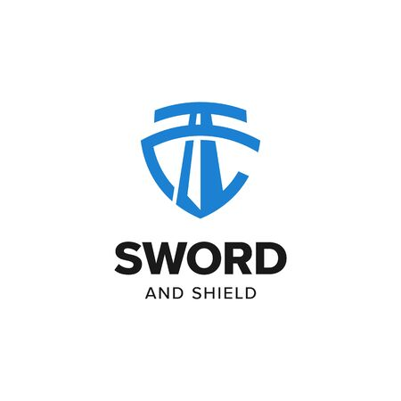 Sword shield justice logo iconic. Branding for universal legal, advocate, lawyer, scales, law firm, attorney, weapon store, security, gym, fitness, etc. Isolated logo inspiration. Graphic designs