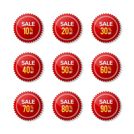 Red sticker discount sale off. Red label. Designs for retail, special offer, mega sale, big sale, hot sale, promotion, etc. Graphic designs