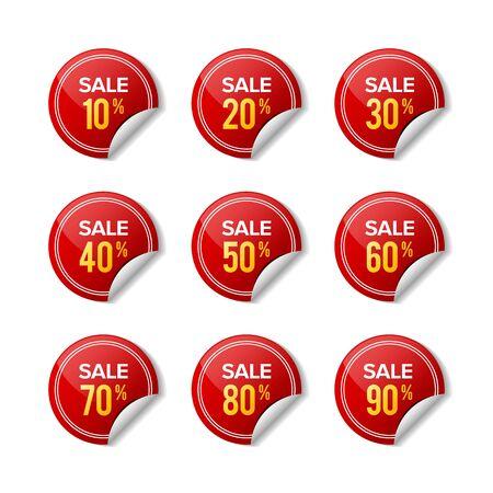 Etichetta rossa di sconto adesivo di vendita. Disegni per vendita al dettaglio, offerta speciale, mega vendita, grande vendita, vendita calda, promozione, ecc. Disegni grafici