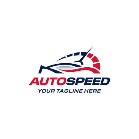 Auto speed logo. Fast car speedometer.