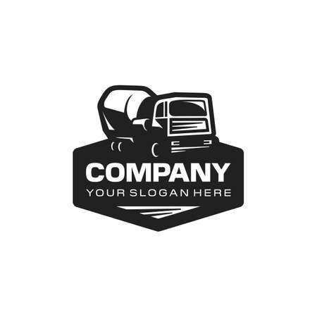 Concrete truck mixer logo. Construction cement mixer.