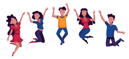 Group of young happy laughing people jumping with raised hands. Students. Colored vector flat cartoon illustration isolated on white background. Happy positive young men and women rejoicing together Vecteurs