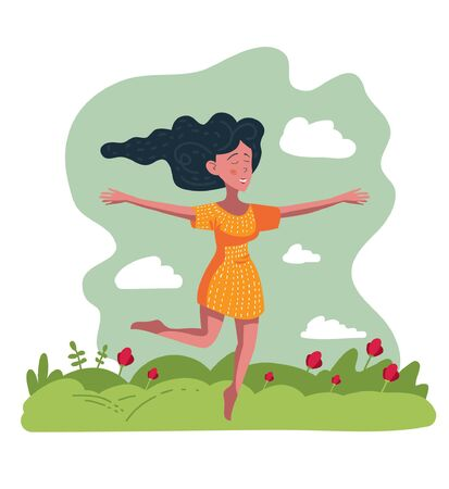 Spring Summer Cute vector illustration of a happy woman running across a flower meadow for poster, greeting card, card, flyer or banner-vector