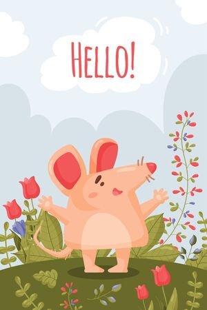 A spring card with a happy little pink mouse and big pink ears opened its paws for a hug. Vector of a cartoon rodent