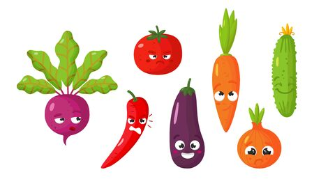 Vector set of cartoon images of various funny isolated vegetables beetroot, tomato, carrot, cucumber, hot pepper, eggplant, onion on a white background. Emoticons, emojis, character.