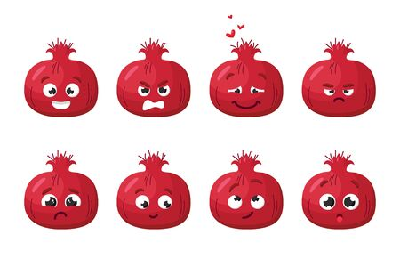 Pomegranate fruit. Cute vector character set in various action emotions. Collection of funny fruit symbols isolated on a white background Vettoriali