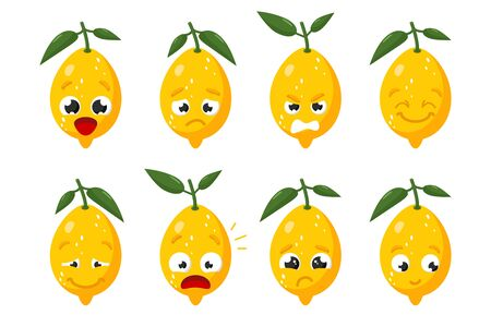 Limon fruit. Cute vector character set in various action emotions. Collection of funny fruit symbols isolated on a white background Çizim