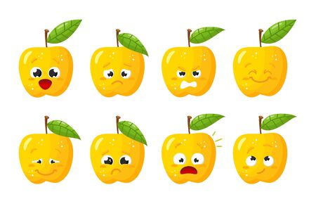 Yellow Apple fruit. Cute vector character set in various action emotions. Collection of funny fruit symbols isolated on a white background