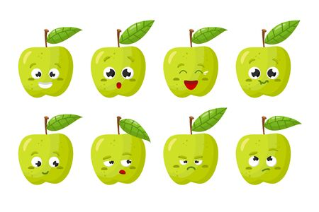 Green Apple fruit. Cute vector character set in various action emotions. Collection of funny fruit symbols isolated on a white background Ilustração