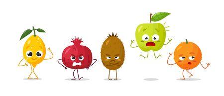 Vector set of cartoon images of intimidated funny fruits lemon, granatum, apple, orange, kiwi on a white background. Emotions, emoji, character.