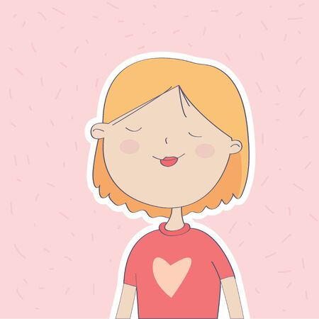 Dreaming, cute young girl character. Print design, t-shirt print, children s book, greeting card. - Vector Ilustracja