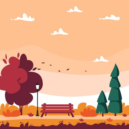 Autumn city Park with deciduous and coniferous trees, street lamp and bench. Cartoon landscape in flat style - vector