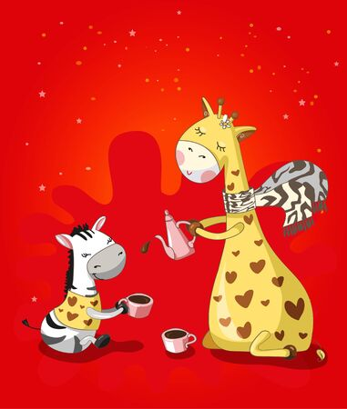 giraffe and Zebra drink coffee. Vector. Cartoon