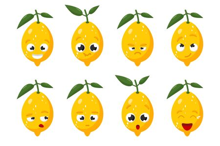 Limon fruit. Cute vector character set in various action emotions. Collection of funny fruit symbols isolated on a white background Ilustração