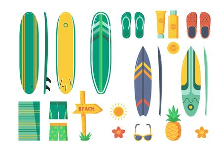 Surfing elements and equipment. Summer sea vacation on Hawaii icons. Summertime beach holidays